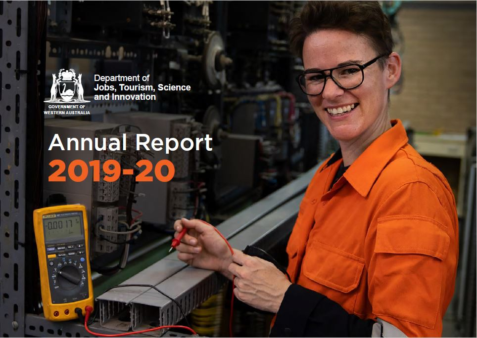 JTSI Annual Rport 2019-20 features a young lady testing metal in a workshop